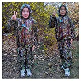 Children'S Camouflage Clothing, Geely Clothing Performance Props Suit PUBG Outdoor Photography Bird Watching Woodland Hunting 3D Linen Invisible Ghillie Suit Children Military CS Woodland Game Suit