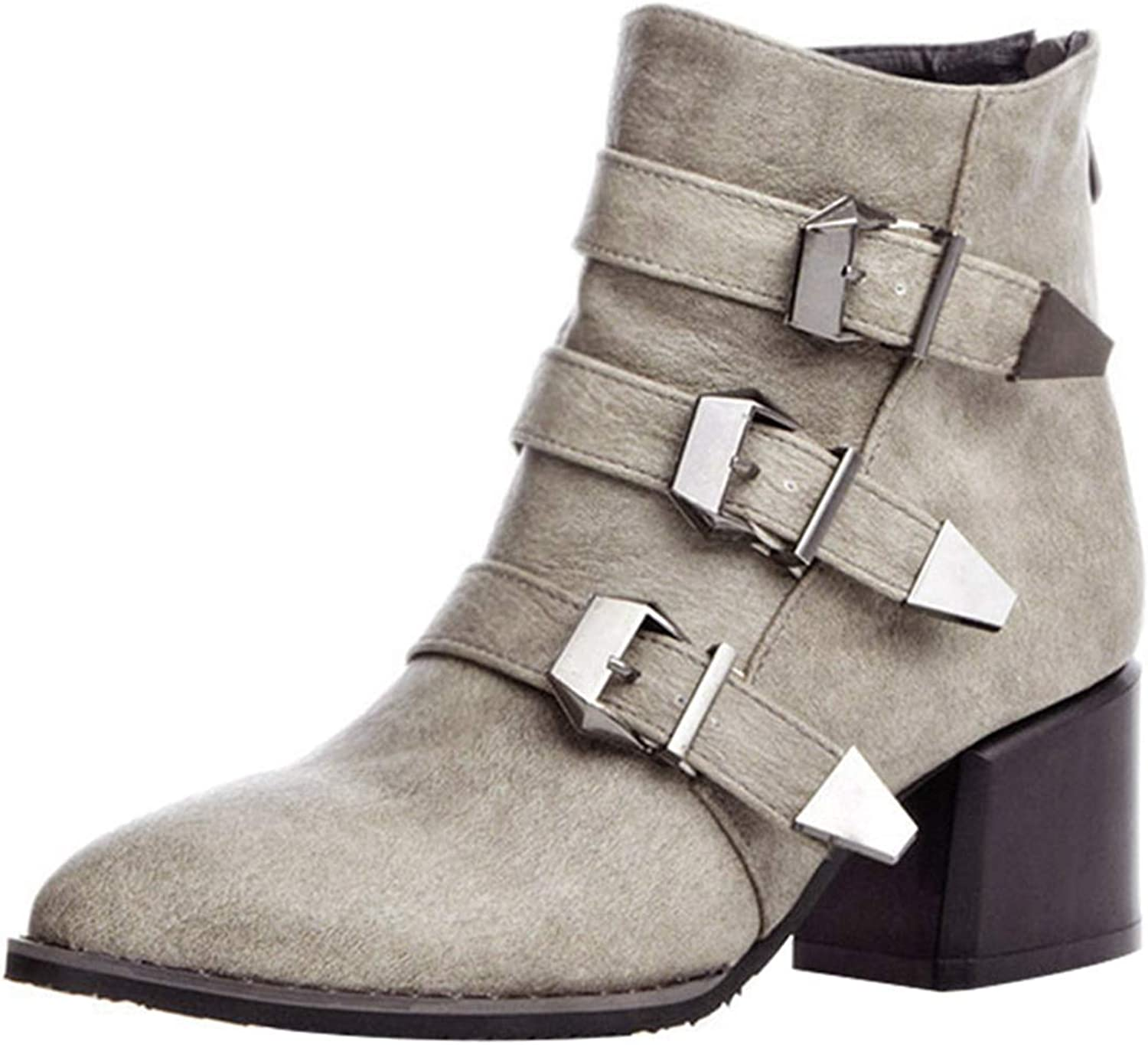 Vitalo Womens Mid Chunky Heel Pointed Toe Ankle Boots Zip Up Buckles Autumn Winter shoes