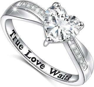 S925 Sterling Silver True Love Waits Infinity Criss Cross Heart Engagement Wedding Ring for Women Girlfriend Wife