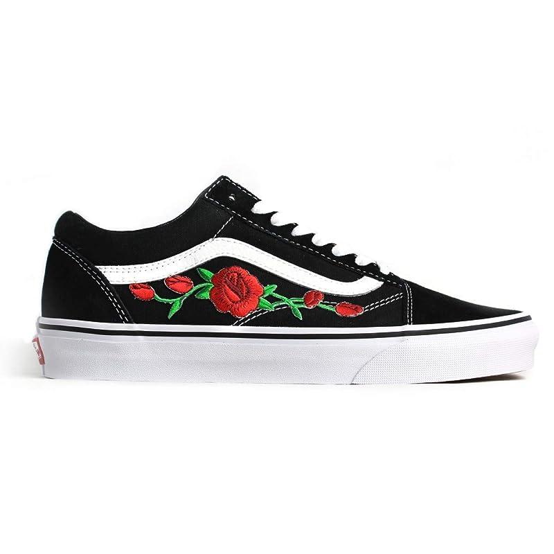 Amazon.com: Black Old Skool Embroidered Red Rose Custom Handmade ...