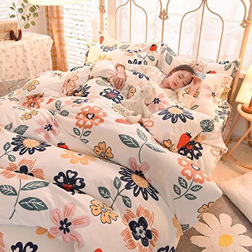 Juego de ropa de cama con funda de edredón-Invierno grueso cálido edredón reversible sábanas de dormitorio de estudiantes ropa de cama de franela de doble cara regalo-GRAMO_Cama de 1,2 m (3 piezas)