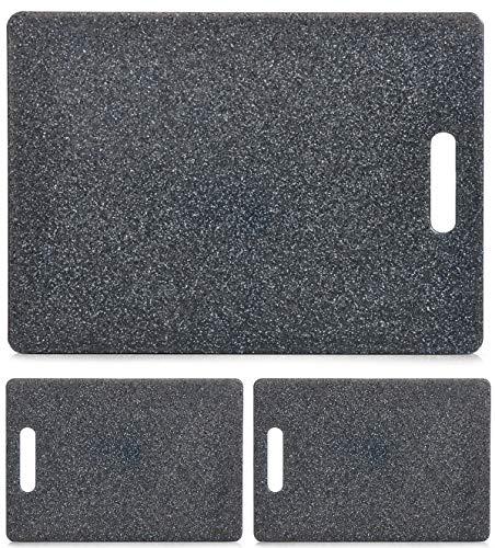 Janthur 3er Set Kunststoff Schneidebrett Granitoptik mit Griff, Servierbrett, Tranchierbrett, Zeller (2X mittel, 1x groß)