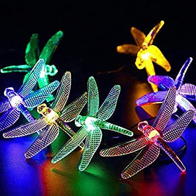 CIAOYE Outdoor Dragonfly Solar String Lights, 20LED 16ft Waterproof Fairy Lighting for Christmas Trees, Garden, Patio, Fence, Wedding, Party and Holiday Decorations, Multi Color
