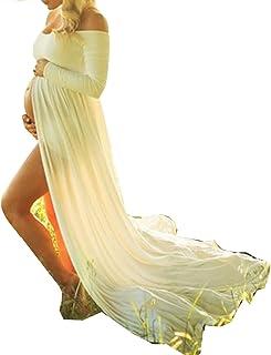 D-Pink - Vestido largo de maternidad, maxivestido para sesi&