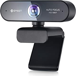 Webcam with Microphone – Autofocus Webcam Nova 96° View Portable Webcam 1080P w/2 De-Noise Mics, Plug & Play USB Webcam with Universal Clip for Screens & Tripods, Streaming Webcam