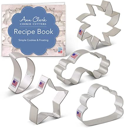 Day and Night Sky Cookie Cutter Set with Recipe Booklet -5 piece - Sun,  Moon,  Cloud,  Rainbow & Star - Ann Clark - USA Made Steel