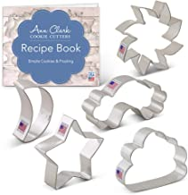 Ann Clark Cookie Cutters 5-Piece Day and Night Sky Cookie Cutter Set with Recipe Booklet, Sun, Moon, Cloud, Rainbow & Star