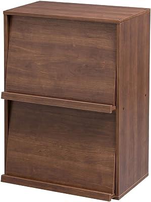 アイリスオーヤマ ラック 本棚 フラップラック 幅59×奥行40.9×高さ83.6cm ブラウン Collanシリーズ CHR-2