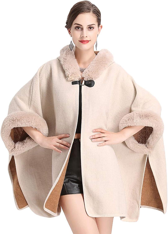 Insun Women's Fashion Faux Fur Collar Woolen Cardigan Hoodie Poncho Cape Cloak