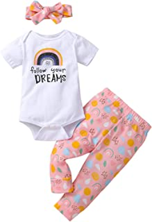 Baby Girls Clothes Newborn Daddy's Girl Bodysuit Letter Print Tops Floral Pants with Headband Infant Outfits Set