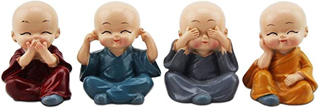 PPCP 4pcs Cute Four are Not Small Monks Set Statue Sage Kung Fu Buddha Figurine Resin Micro Monk Crafts Car Ornaments Home...