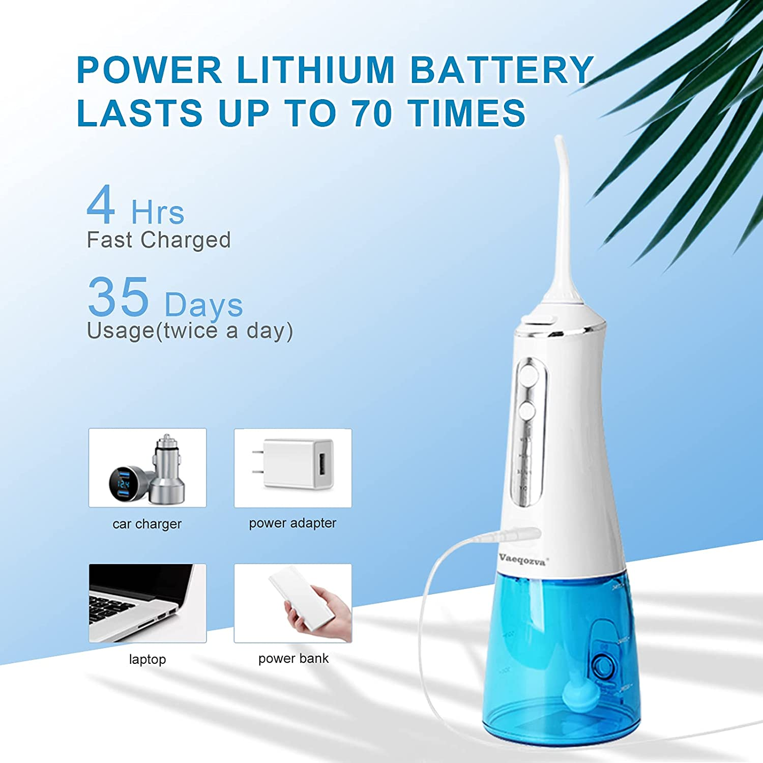 Water Flosser Cordlessfor Teeth, Vaeqozva Portable Oral Irrigator for Braces with 5 JetTips 300ML Water Tank IPX7 Waterproof 4 ModesRechargeable Dental Floss for Home and Travel : Beauty & Personal Care