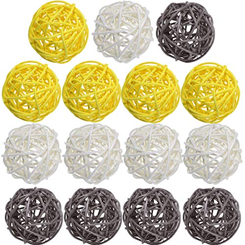 Yaomiao 15 Pieces Wicker Rattan Balls Decorative Orbs Vase Fillers for Craft, Party, Valentine's Day, Wedding Table Decoration, Baby Shower, Aromatherapy Accessories, 1.8 Inch (Yellow Gray White)