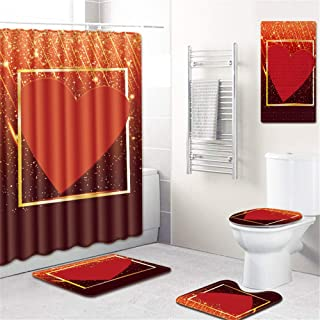 URVIP 5 Piece Bathroom Set Valentine's Day Love Pinted Magic Shower Curtains with Toilet Pad Cover Bath Mat Shower Curtain Set One Size Valentine's Day Love-30