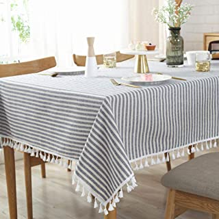 AMZALI Stripe Tassel Tablecloth Cotton Linen Stain Resistant/Dust-Proof Waterproof Table Cover for Kitchen Dinning Tabletop Decoration (Rectangle/Oblong,55 x 98 Inch, Blue)