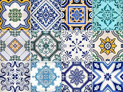 Sirface Traditionelle spanische Fliesenaufkleber, Set für Küche und Bad, 24 Stück, metall, 6x6 inches | 15x15 cm