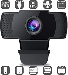 Webcam with Microphone, Full HD 1080P Computer Webcam, USB 2.0 PC Web Camera for Streaming, Video Calling, Studying, Conference, Recording, Live Streaming, Gaming with Rotatable Clip