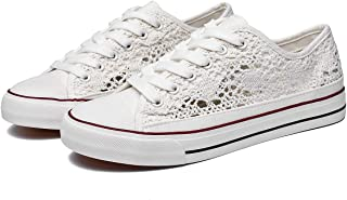 Women's Fashion Canvas Sneakers Mesh Knitted Upper Low Cut Casual Shoes