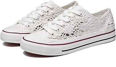 ZGR Women's Fashion Canvas Sneakers Mesh Knitted Upper Low Cut Casual Shoes