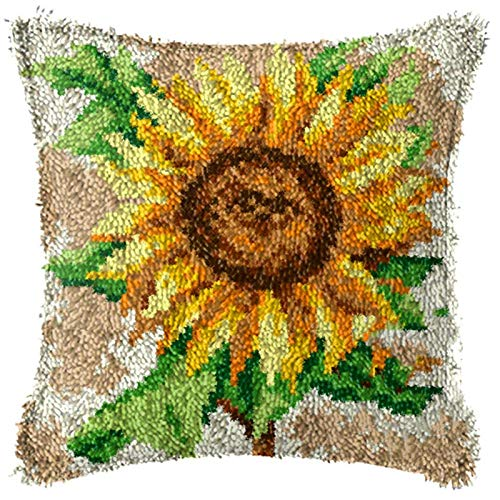 かぎ針編みフックキットDIYかぎ針編み枕カバークッションカバーミシンクラフト刺繍ギフト子供初心者(ひまわり17 * 17 )