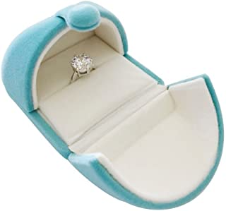 (Single Ring) - Unique Light Blue Velvet Premium Grade Ring Box Jewellery Display Case Engagement Anniversary Birthday Mother's Day Wedding Diamond Precious Stone Pearl (Single Ring)