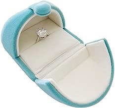 (Single Ring) - Unique Light Blue Velvet Premium Grade Ring Box Jewellery Display Case Engagement Anniversary Birthday Mother's Day Wedding Diamond Precious Stone Pearl (Single Ring)