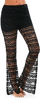 Sunnywill Damen Hosen Damen Lace Bell Bottoms Flare Hose Mid Tailliertes Wide Leg Long Yoga Hose