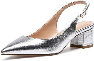 Castamere Scarpe Donna Eleganti con Tacco Medio con Cinturino Dietro la Caviglia Sandali Tacco a Blocco Alto 5 CM