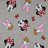 French Terry Stoff Disney Minnie Maus, Daisy Duck, grau