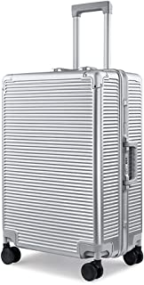 SMLCTY Cabin Luggage,aerolite Cabin Bag,Aluminum Frame ABS+PC Large Capacity Portable 4 Wheel Mute 360 ° Rotating Customs Digital Password Lock Travel Trolley Case (Color : Silver, Size : 24 inch)