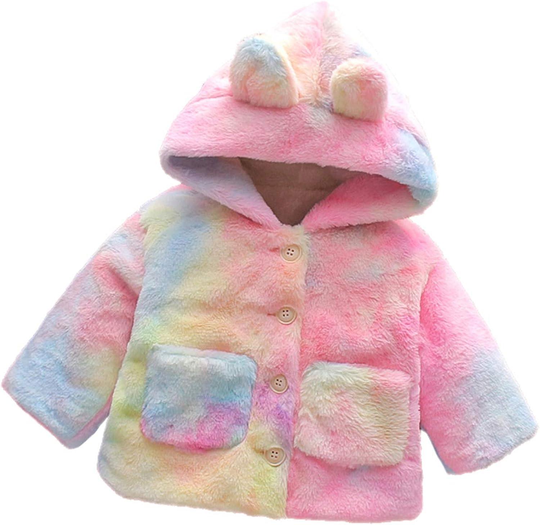 Baby Girls Boys Winter Fleece Coat Toddler Kids Faux Fur Jacket Warm Hooded Outwear Cardigan with Ears Fall Winter Outfits