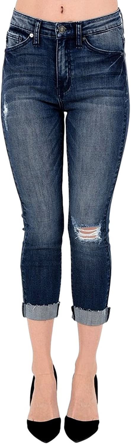 Kan Can Women's Mid Rise Destroyed Capri Jeans Dark Wash KC5019D
