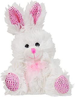 Greenbrier International Chocolate-Scented Plush Stuffed Easter Bunny Rabbit with Ribbon 6.5 in. - White - 1/pkg.