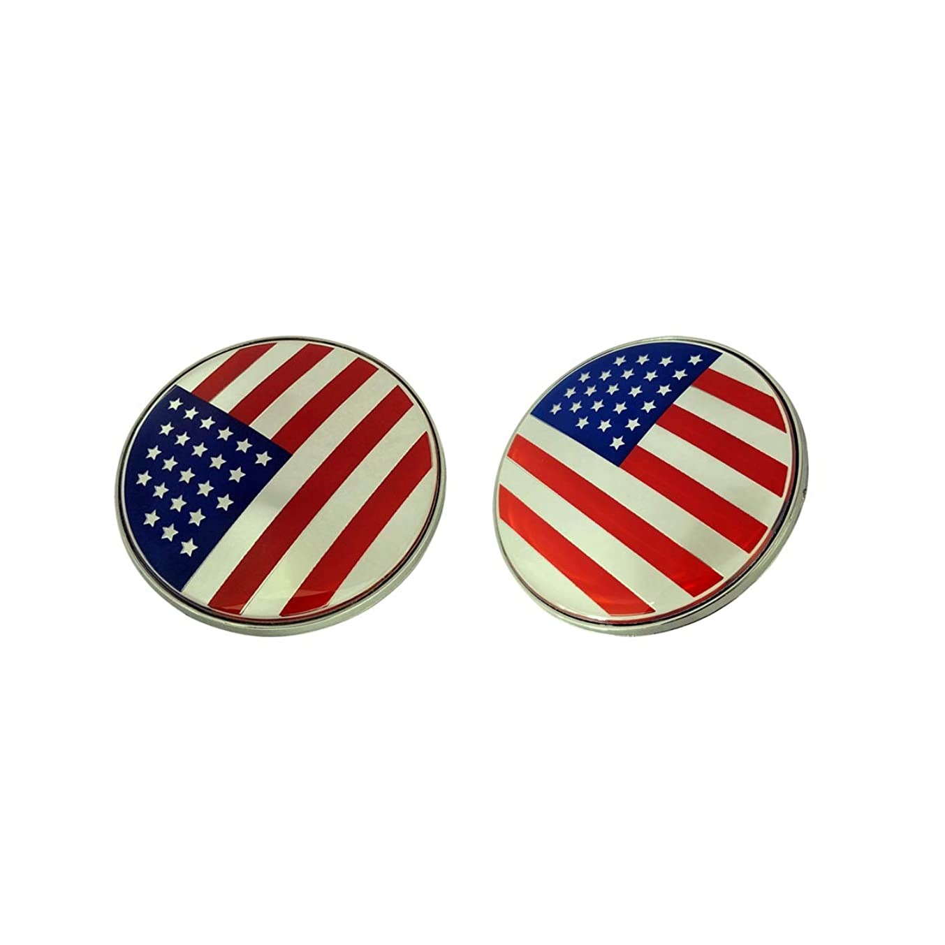 Vemblem 2pcs New Face Sporty Fashion Round 82mm Emblem Badge United States America USA Red Blue Silver Color 1x Front Hood + 1x Back Rear Trunk Replacement Compatible Fit For BMW Model M Power Cars