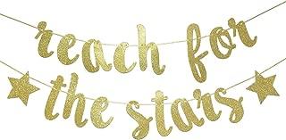 Reach For The Stars Glitter Gold Banner, Graduation Banner, Grad Decor (Gold)