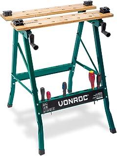 VONROC Werkbank, spantafel, met bamboewerkblad, maximale belastbaarheid 150 kg