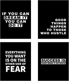 Blankspace Set of 4 Motivational Posters with Inspiring Quote for Boys, Teens & Men   Wall Art for Bedroom, Home Office, Gym. (8x10)