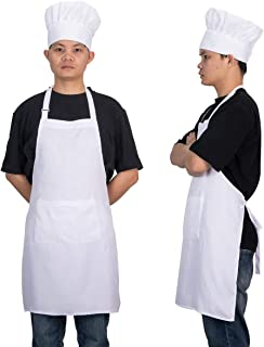Homsolver Adjustable Bib Chef Apron Set, Chef Hat and Kitchen Apron Adult White Apron with Butcher Hat for Men & Women, White (White)