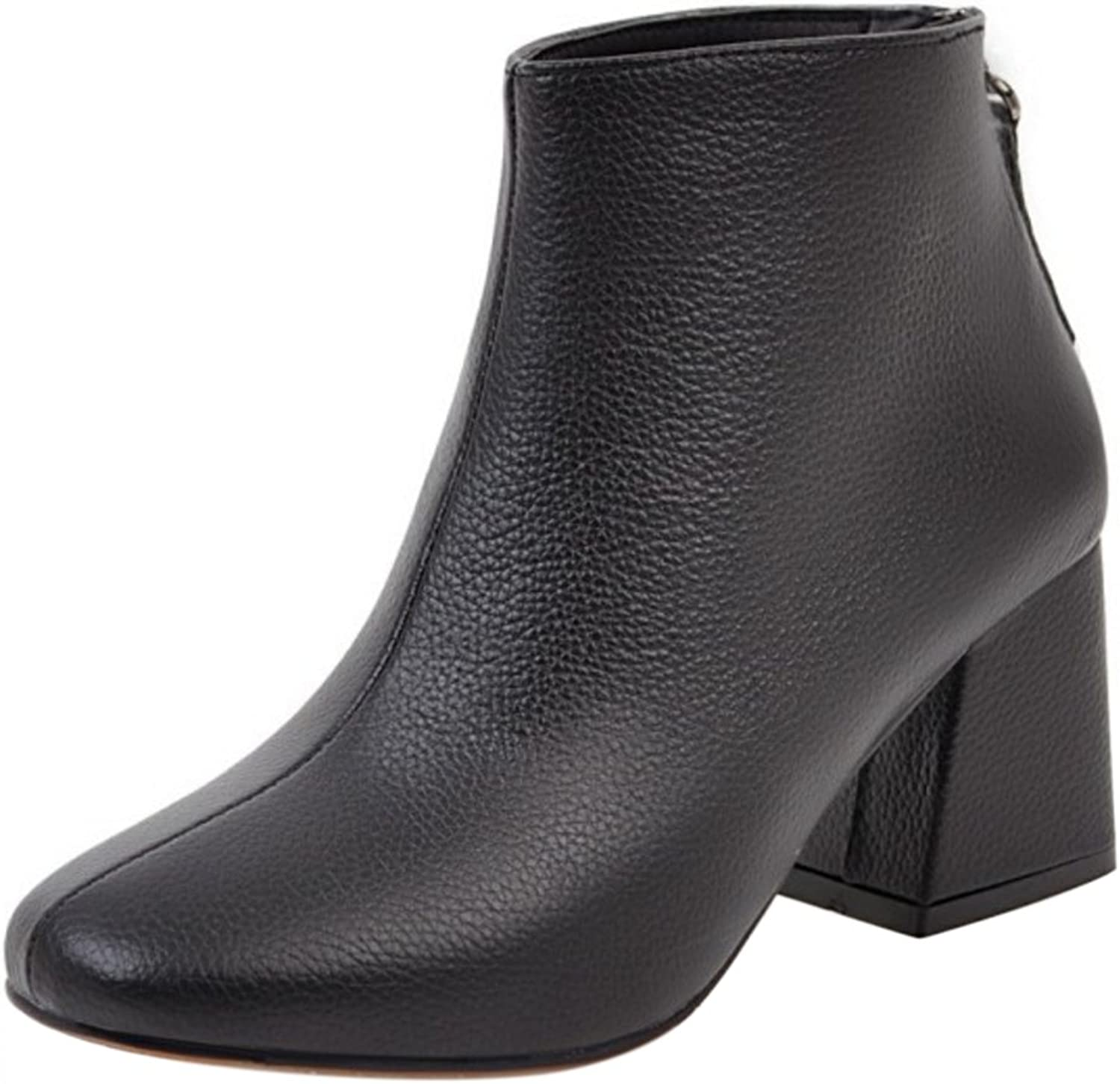 RizaBina Women Classic Block Heel Ankle High Boots Zipper