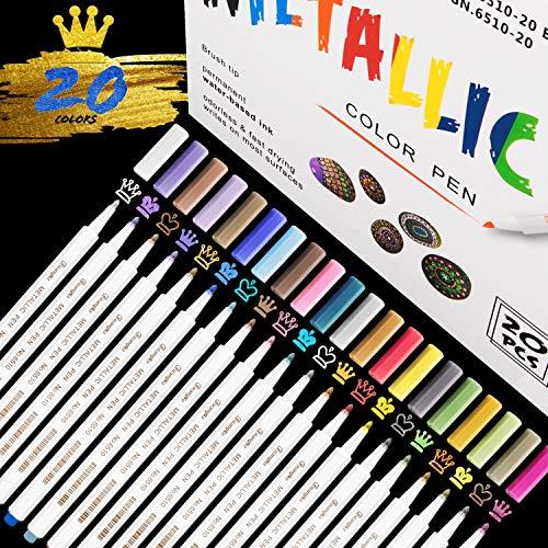 Acrylstifte Marker Stifte, RATEL 20 Farben Wasserfeste Stifte Metallic Marker Stifte Permanent Marker Paint Pens Schnelltrocknend Premium Metallischen Stift Pens für DIY Fotoalbum, Stein, Keramik