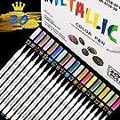 Metallic Marker Pens ,RATEL 20 Brilliant Colors Metallic Pens Set for DIY Art Crafts , Rock Painting,DIY Photo Album,Birthday Greeting Gift , Art Markers for Metal and Ceramics,Glass -Fine Tip