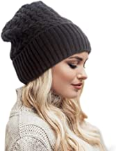 STfantasy Women Slouchy Winter Knit Beanie Hat with Ombre Blonde Mid Length Wavy Synthetic Hair Wig Attached