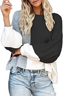 Meikosks Ladies Color Block T Shirt Round Neck Long Sleeve Knitted Pullove Fashion Tops Sweatshirts