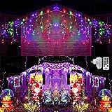 432 LED - Cascata luci natalizie COLORATE da esterno con telecomando e timer