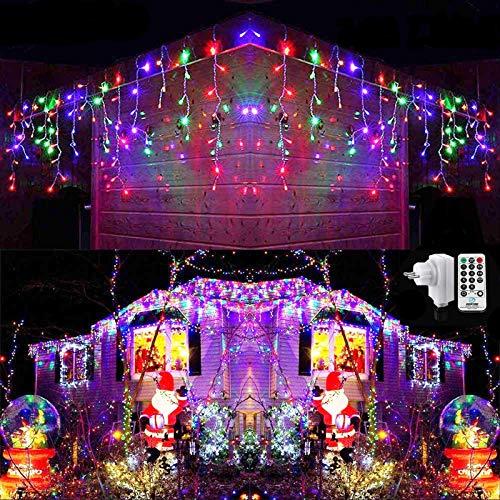 Qedertek 432 LED Lichterkette Eisregen Außen, 10.8M Weihnachtsbeleuchtung Lichtervorhang mit Steckdose, 8 Modi und 3 Timer Funktion und Dimmbar mit Fernbedienung, Deko Hochzeiten, Gartenpartys (Bunt)