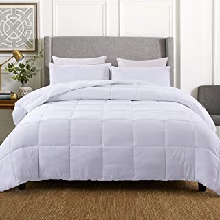 WhatsBedding Down Alternative Quilted Comforter - All Season White Lightweight Duvet Insert or Stand-Alone Comforter with Corner Tabs - Queen Size(88×92 Inch)