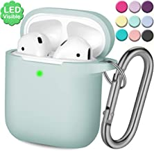Wepro AirPod Case Protective Cover Skin (Front LED Visible) Compatible with Apple AirPods 2 and 1 Charging Case, Shockproof Soft Silicone AirPods Case with Keychain (Aqua)