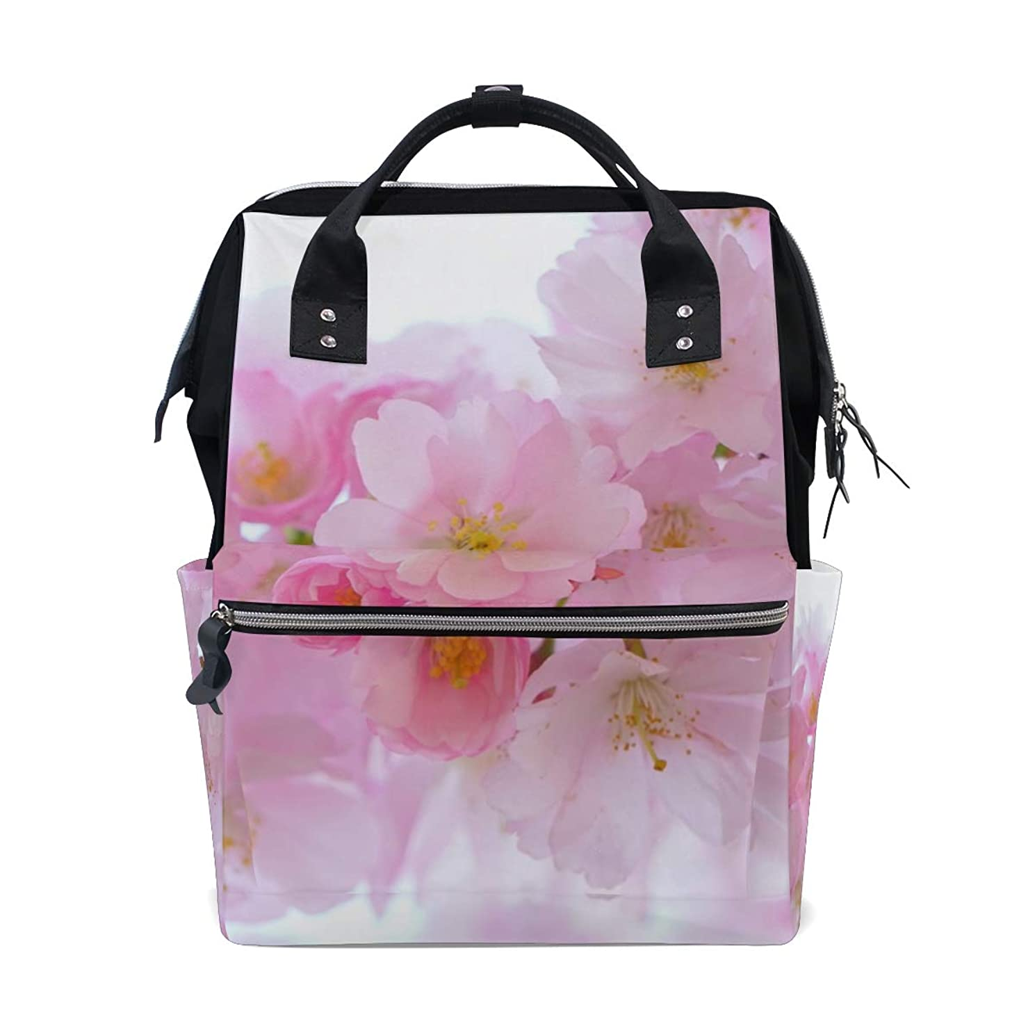 Pink Cherry Flowers School Backpack Large Capacity Mummy Bags Laptop Handbag Casual Travel Rucksack Satchel For Women Men Adult Teen Children