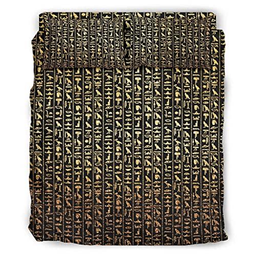 STELULI Juego de cama de 4 piezas, diseño de glifo egipcio, color dorado y blanco, 240 x 264 cm