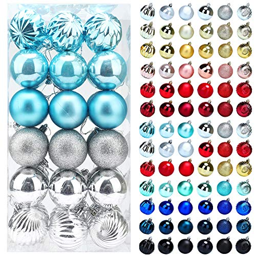 Christmas Balls Ornaments for Xmas Tree, 36ct Plastic Shatterproof Baubles Colored and Glitter Christmas Party Decoration 2.4inch Set (Sky Blue & Silver)